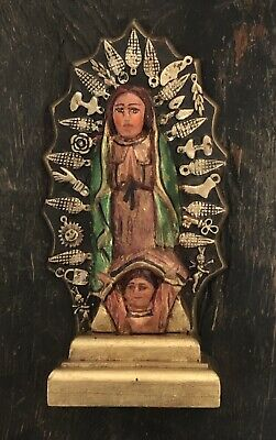VIRGIN of GUADALUPE Figurine with Milagro Charms