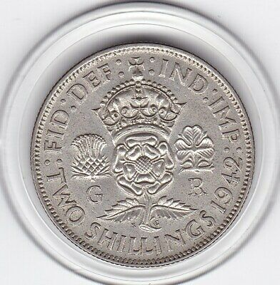 Sharp  1942   King  George  VI   Florin  (2/-)   Silver (50%)  Coin