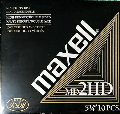 """Maxell MD2HD 5 1/4"""" Double Sided Floppy Disk collector computer antique disc MB"""