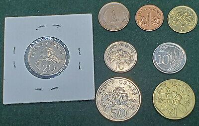 Singapore Lot Of 8 Rare Coins Collection Coin 1 5 10 20 50 Cents 1 Dollar