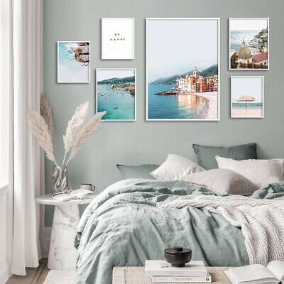 Ocean Beach Wall Art Painting Umbrella Canvas Posters Building Print Home Decor