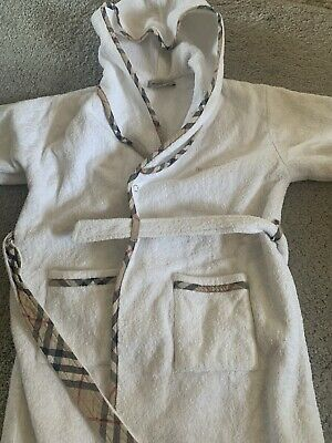 Kids White Burberry Dressing Gown Age 3