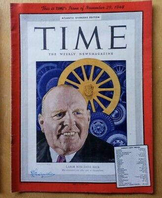 Rare TIME Magazine 1948, Labour Dave Beck, Vintage, Rolex Ad Ephemera, Vollecyor