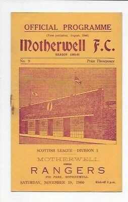 Motherwell V Rangers 1960 Vgc Scotland England Glasgow Football Programme Fa Cup