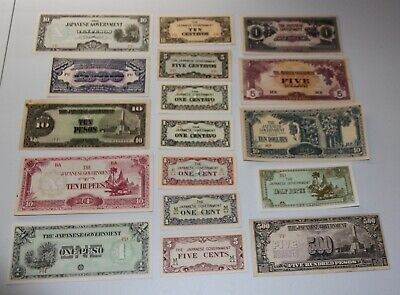 JAPAN Japanese Invasion Money from WWII JIM 17 Notes JIM #2