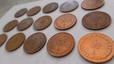 15 GB Britian England British old vintage money coins half penny ha'penny 71-82