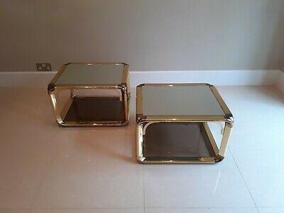 Pair of Italian Vintage Brass and Smoked Glass Hollywood Regency side tables