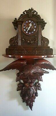 Antique Carved Black Forest 8 day Clock with Shelf