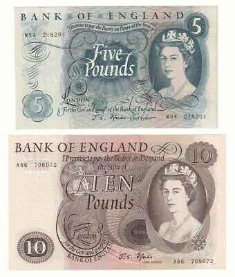 Bank of England £5 and £10 Banknotes (1967) aUNC.