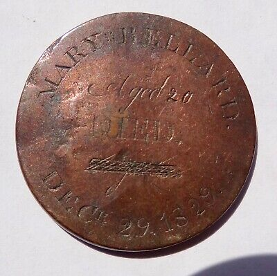 Memorial Coin, Engraved For Mary Bellard, Died 1829, On An 1822 Russia 2 Kopecks
