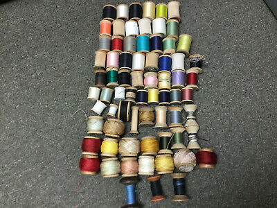 Lot Of 71 Vintage Wooden Thread Spools Full To Empty