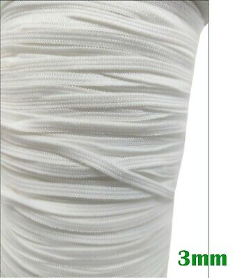 3mm Flat Woven Elastic Stretchy Tape Stripes White UK Seller 200Yds GOOD QUALITY