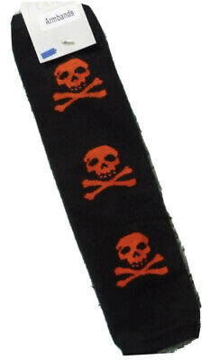 New Girls Ladies Armbands / Warmers Black With Red Skull By Flirt Cotton Bnwt