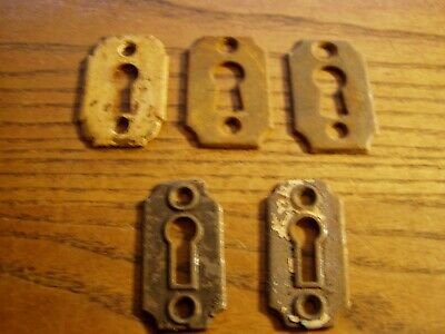 5--Antique Vintage Cast Iron KEY HOLE Escutcheons