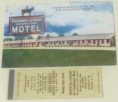 Dillon South Carolina S.c. Stonewall Jackson Motel Matchbook Cover