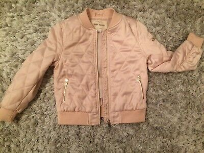 River Island 5-6 Years Quilted Pink Satin Bomber Jacket