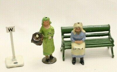 Vintage Lead Toys Made In England:  2 Women On A Bench