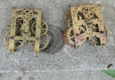 Two 19th c American type clock movements, spares/repair