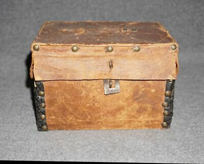 small antique leather covered document or trinket box