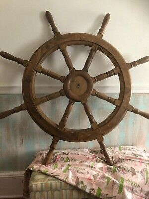 "Huge 55"" Antique Nautical Wall Decor Large Nautical Wooden Ship Wheel 8 Handle"