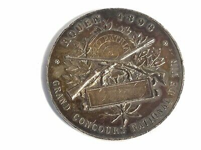 French Solid Silver Medal, Rouen 1896, Grand Concours National de Tir