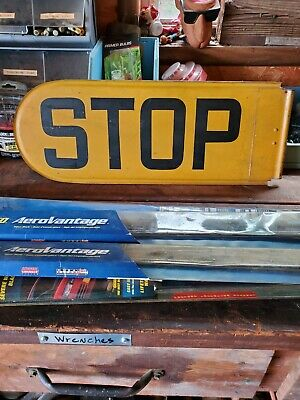"Vintage SCHOOL BUS STOP SIGN, Double Sided 8 1/2""×22 1/2"" long"