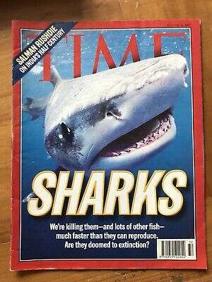 Rare TIME Magazine 1997, Sharks Extinction, Rushdie,Vintage, Collectors, Sea