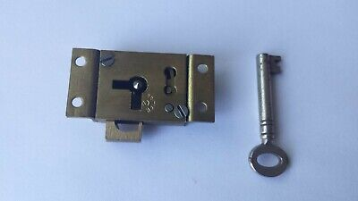 Small Vintage Brass Door Drawer Cabinet Lock With Key 2'' x 1''