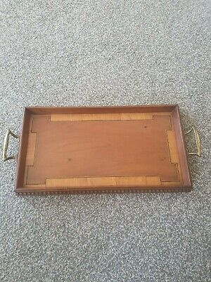 Antique Wooden Butlers Tray Serving Drinks Tray With Brass handles
