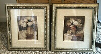 Set of Floral Framed Pictures Matted With Gold Frames 9x10