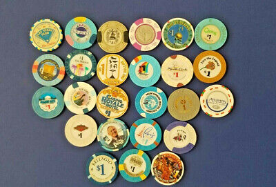 Lot of 25 Assorted One Dollar Las Vegas Casino Chips