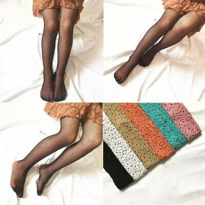 Kids Girls Fishnet tights Colored Diamonds Mesh one size over 2 -8 years