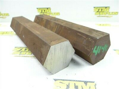 """23.5Lb Lot Of 2-1/4"""" Hex Stock 4140 Solid Steel 10"""" Lengths"""