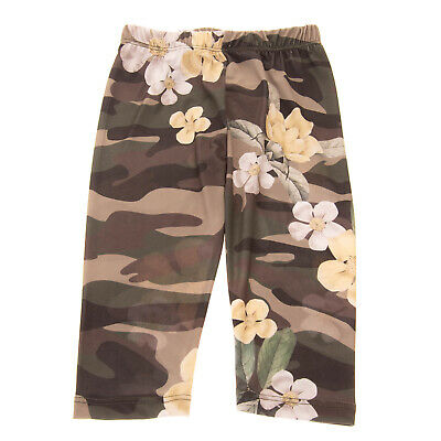 Leggings Size 3Y Stretch Elastic Waist Camouflage & Flower Print Made in Italy