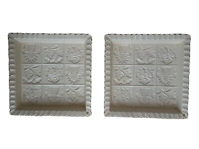 The 1869 Victorian Pottery. Shortbread Biscuit Mould  X 2. Floral.