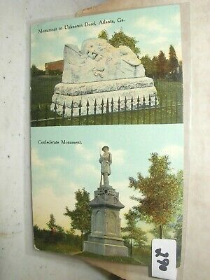 Postcard  Georgia  Atlanta The Confederate And The Unknown Dead Monuments  #290