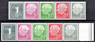 GERMANY - 1950s P. HEUSS BOOKLET STAMPS -*Wmk SIDEWAYS* - MINT NEVER HINGED**