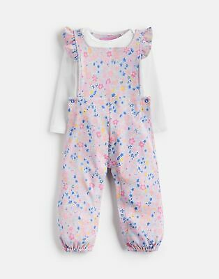 Joules Baby Girls Eliza Jersey Dungaree Set - GREY MARL DITSY Size 6m-9m