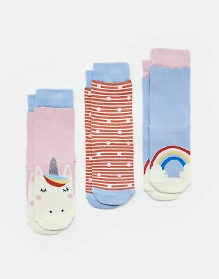 Joules Girls Brilliant Bamboo Socks Three Pack - PINK UNICORN Size Size 13-3