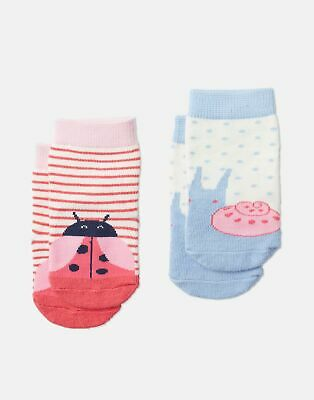 Joules Baby Girls Neat Feet   Two Pack Character Socks -  Size 2yr-3yr