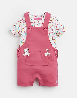 Joules Baby Girls Misha Jersey Dungaree Set - PINK CAT SPOT DUNGAREE Size 0m-3m