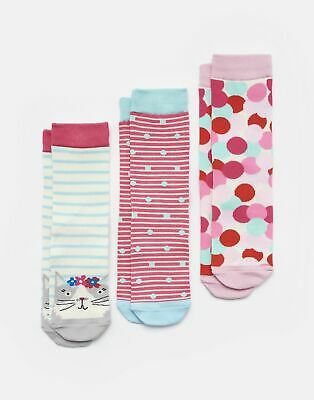 Joules Girls Brilliant Bamboo Socks Three Pack - AQUA STRIPE CAT Size Size 9-12