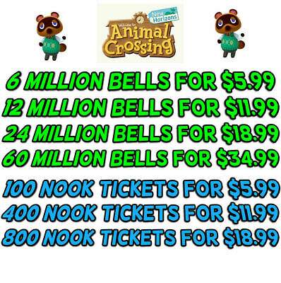 Animal Crossing New Horizons Bells, Nook Tickets, Fish Bait - 2 Minute Delivey