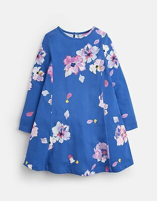 Joules Girls Loralie Jersey Swing Dress 3 12 Yr in MID BLUE FLORAL Size 4yr