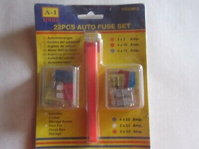 22 PC Auto Fuse Assortment with Puller Tool Full Size Fuses