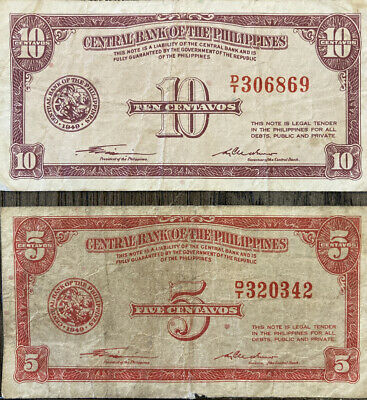 1949 TEN & FIVE CENTAVOS Banknote CENTRAL BANK OF THE PHILIPPINES