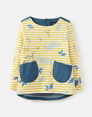 Joules Girls Ria Jersey Woven Mix Top  - YELLOW STRIPE SPRIG Size 3yr