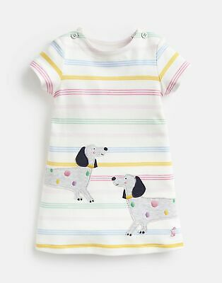 Joules Baby Girls Kaye Applique Dress - MULTI STRIPE DOG Size 0m-3m