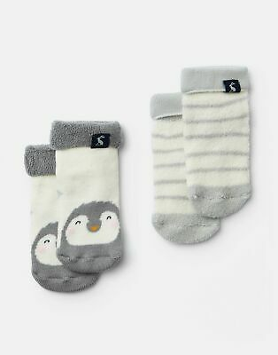 Joules Baby Girls Terry 2 Pack Socks - CREAM PENGUINS Size 6m-12m