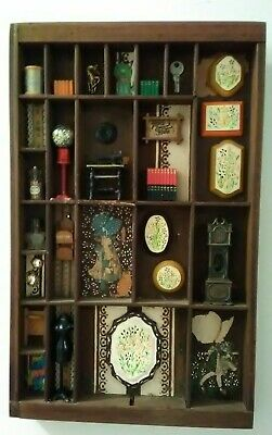 Vtg Wood Shadow Box With Miniatures